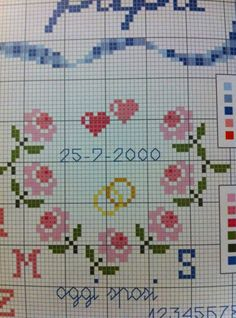 Easy Cross Stitch Patterns, Simple Cross Stitch, Wedding Cross Stitch, Palestinian Embroidery, Different Shades Of Pink, Vintage Cross Stitches, Small Heart, Floral Motif, Pixel Art