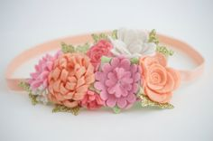 Felt Flower Garland Headband Felt Flower Mini Crown In by bloomz
