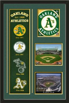 Oakland Athletics Banner With Logos-2011 Oakland A' s Team Logo photo, O. co Coliseum 2012 photo, Oakland Coliseum Photo Framed With Team Color Double Matting In Quality Black Frame-Awesome & Beautiful-Must For Any Fan! Art and More, Davenport, IA http://www.amazon.com/dp/B00GYX76PO/ref=cm_sw_r_pi_dp_.RhHub0N6YHYH