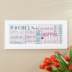 21st Birthday Gift for Her of Personalised Panoramic Word Art (BFF colour option). Beautiful Personalised Word Art Gifts to Commemorate a Landmark Birthday. Easy to Create, Preview on Screen Before You Buy & Fast Free Delivery. Create Now…