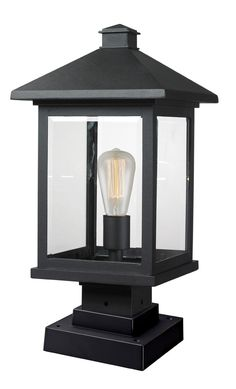 Z-Lite 531PHBS-SQPM-BK Portland 1 Light 20 inch Black Outdoor Pier Mount in Clear Beveled Glass