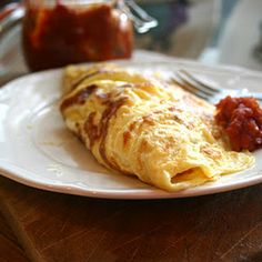 Three Egg Omelette With Hot Tomato Jam Recipe Breakfast and Brunch with large eggs, milk, butter, cheddar cheese, jam