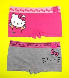 c949be183 2 pairs NWT Hello Kitty SEAMLESS microfiber boyshort panties S,L,  Pink&Gray