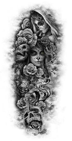 totenkopf mit rosen tattoo - junge frauen und graue totenköpfe und viele große graue rosen dragon tattoo tattoo tattoo designs tattoo for men tattoo for women tattoo tattoo tattoo tattoo tattoo tattoo tattoo tattoo ideas big dragon tattoo tattoo ideas Custom Temporary Tattoos, Custom Tattoo, Full Sleeve Tattoos, Tattoo Sleeve Designs, Day Of The Dead Tattoo Sleeve, Day Of The Dead Tattoo For Men, Full Leg Tattoos, Half Sleeve Tattoos For Guys, Tattoo Designs Men