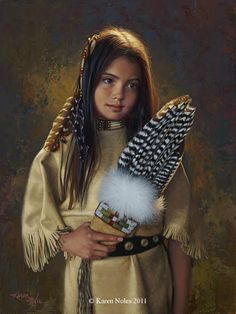 """Feathers And Light""Original Oil 12"" x 9"" -Western and Native American Fine Art by Karen Noles"