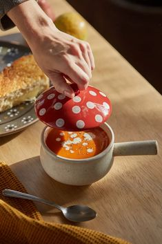 Mushroom Lidded Soup Crock | Urban Outfitters Garlic Roaster, Cozy Meals, Kitchen Necessities, Coffee Facts, Soup Crocks, Colorful Cakes, Ceramic Design, Dinnerware Sets, Candle Set