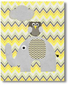 Chevron yellow and gray Nursery art prints baby by GalerieAnais, $14.00
