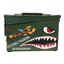 Personalized Flying Tigers Authentic 30 CAL Ammo Can Pinstriping Designs, Ammo Cans, Tiger Design, Man Cave Home Bar, Garage Art, Scrap Metal Art, Old Tools, Nose Art, Up Girl
