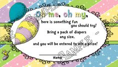 Oh The Places - Dr Seuss - Baby Shower Diaper Raffle Tickets - 20 Pack   eBay