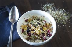 greek-style yogurt with seed mix and berries. #food