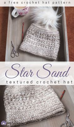 Star Sand Free Crochet Hat Pattern This gorgeous free textured crochet hat pattern makes a perfect quick crochet project. Rows of crochet star stitch nestle between lines of camel stitch texture for a unique look. Quick Crochet, Unique Crochet, Diy Crochet, Crochet Baby, Crochet Star Stitch, Crochet Stars, Crochet Adult Hat, Crochet Beanie Pattern, Crochet Gloves