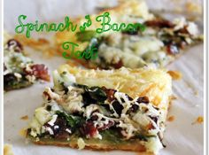 Yum! I'd Pinch That | Spinach and Bacon Tart #recipe #justapinch