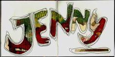 Naamboeksel door Jenny de Bode (co-auteur van het boek 'Creativiteit, géén kunst' en initiatiefnemer van het creatieve netwerk Creatief Contact. Boeksels (Altered Text) - Creatief Contact