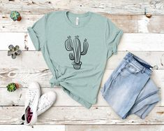 Cactus Shirt, Christian Shirts, Western Shirts, Cool Tees, Graphic Tees, Country, Trending Outfits, Cute, How To Wear