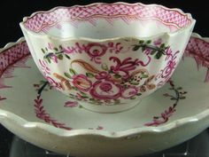 Divine 18th Century English Pearlware Tea Bowl & Saucer 1790.