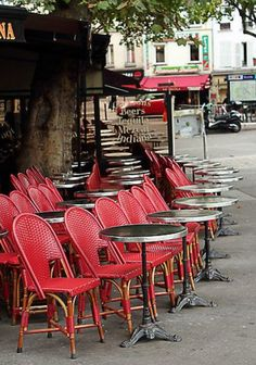 That's Paris, where it's all about unabashed people watching.  They turn the chairs out to facilitate that.