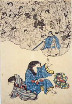 This print shows a mob of earthquake victims coming to take revenge on a namazu and its children.