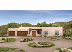 Adobe House Plan with 2945 Square Feet and 4 Bedrooms from Dream Home Source | House Plan Code DHSW37563