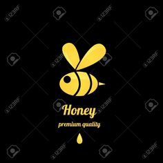 Vector Golden Honey Abstract Bee Silhouette On Black Royalty Free ...