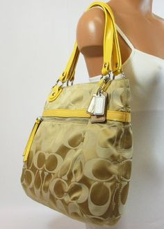d5f3701fe89d Coach Poppy Signature Sateen Glam Bag Khaki Ivory Sunflower