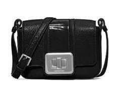 Michael Kors New Lila Black Leather Small Messenger Shoulder Flap Purse Bag