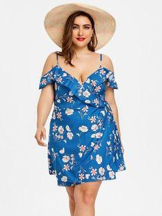 Floral Ruffle Plus Size Wrap Dress - Blue