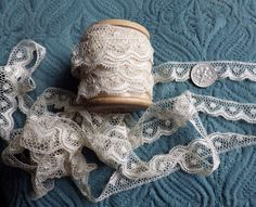1800s Antique French Lace Cotton Trim Dots Scallops Doll Frill Fab Trim To Ruch