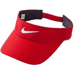 Nike Tech Swoosh Visor ($18) ❤ liked on Polyvore featuring accessories, hats, nike hats, sun visor hat, visor hats, nike and red hat