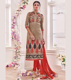 Beige Chanderi Cotton Churidar Suit 67582