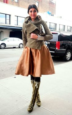 February 14, 2012 - The Cut ....What: Skirt by Number 21; boots by Manolo Blahnik; bag by Louis Vuitton.
