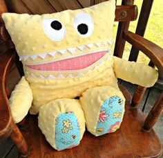 Pajama Eater - Pajama Bag - Secret Keeper - Secret Stasher - Monster Pillow - Plush Toy - Girl Gift - Birthday  - Yellow