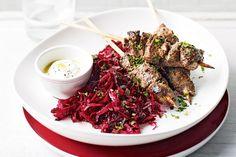 Sumac and yoghurt lamb kebabs with raw beetroot salad