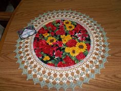 Fabric Doily with Crocheted Edging Sunflowers with by bestdoilies, $16.00