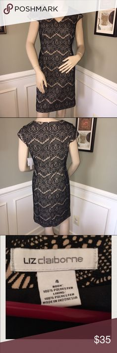 Liz Claiborne Black & Nude Lace Cocktail Dress This dress is perfect for a fall wedding or date out with the hubs! It's lined in a cream color and has a very feminine black crochet/lace overlay. Never worn and new with tags Liz Claiborne Dresses Midi