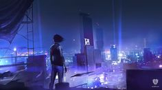 In City at Night, Mirror's Edge Catalyst concept artist Frej Appel captures Faith at a contemplative moment: back in town after juvenile detention, she is still deciding on what the city means to her. Edge City, Mirror's Edge, Mirrors Edge Catalyst, Cyberpunk City, Cyberpunk Aesthetic, Game Concept Art, Night City, Parkour, Blade Runner