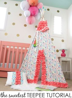 The most adorable DIY teepee we've ever seen. This darling fabric makes it perfect!