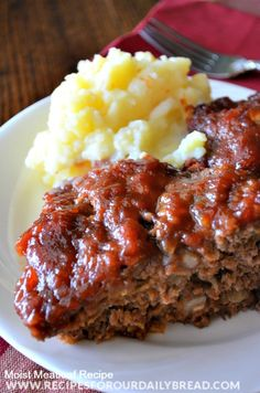 Super Moist Meatloaf - If you have not made meatloaf lately because you need a good recipe, try this extremely moist and delicious meatloaf with a sweet and tangy sauce.  The sauce is made using vinegar, dark brown sugar, ketchup, and Worcestershire Sauce. It is really tasty! http://recipesforourdailybread.com/2013/10/25/super-moist-meatloaf-recipe/ #meatloaf #maindish