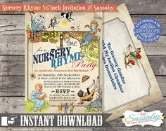 DIY Nursery Rhyme Invitation  INSTANT DOWNLOAD  by Sassaby on Etsy