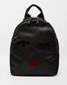 Lulu Guinness Backpack in Satin with Taped Face - Black