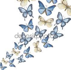 Uçan-up suluboya kelebekler. Vektör — Stock Illustration #77711098