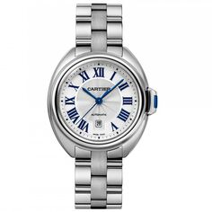 The Clè de Cartier model features all of the classic Cartier traits. The stainless steel case features a silver dial with traditional blue sword Cartier markers and roman numerals, with a date display at six o'clock. Cartier Santos, Stainless Steel Watch, Stainless Steel Bracelet, Cartier Panthere, Watch Sale, Luxury Watches, Dream Watches, Watches For Men, Ladies Watches