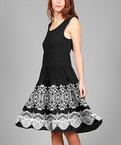Look at this #zulilyfind! Black & White Lace-Accent A-Line Dress - Plus #zulilyfinds
