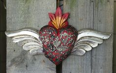 Medium Hand Carved Wood Heart & Silver Wings Milagros Folk Art Michoacán Mexico