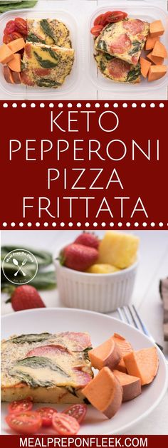 Keto Pizza Frittata Meal Prep - Meal Prep on Fleek™ All of the traditional flavors of pizza are wrapped up in this Keto Pizza Frittata Meal Prep recipe that is meant for breakfast, sans the carbs! Lunch Recipes, Keto Recipes, Dinner Recipes, Healthy Recipes, Healthy Food, Skinny Recipes, Ketogenic Recipes, Eating Healthy, Vegetarian Recipes