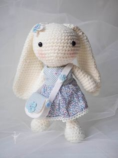 Amigurumi Bunny - Standing all by myself - doesn't Liberty look good on me?
