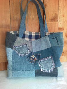 Denim Tote Bag Repurposed denim jeans 8 usable by ripnrollrugs