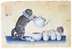 """Stefano Faravelli (Italian illustrator, b. 1959) - """"Il servizio da thè"""" (Tea set)"""