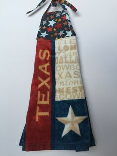 Texas Hanging Kitchen Towel With Ties / Texas / By Thestuffedcat