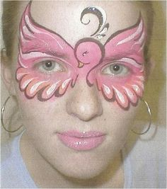 Pink bird face painting - sweet!