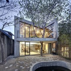 architecture Tea House Inspiring Chinese Home Integrating a Mature Tree: Tea House